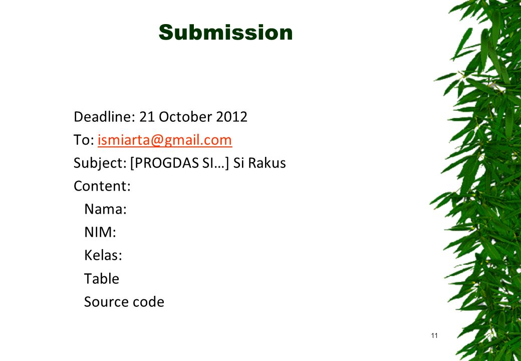 Submission Deadline: 21 October 2012 To: ismiarta@gmail.com Subject: [PROGDAS SI…] Si Rakus Content: Nama: NIM: Kelas: Table Source code